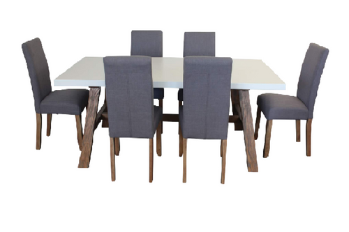 COPACABANA 7 PIECE DINING SETTING WITH  ASHTON CHAIR 1600(L) x 900(W) - WHITE /  LIGHT GREY