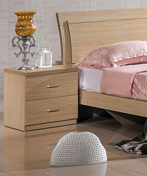 ALPHA 2 DRAWER  BEDSIDE TABLE (MODEL-802#) - AS PICTURED