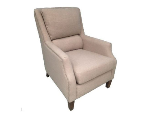 BUNGALOW FABRIC UPHOLSTERED ARM CHAIR - BEIGE