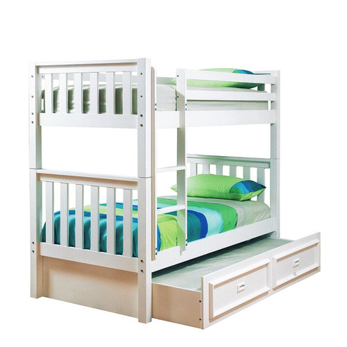 KING SINGLE SUSSEX/AWESOME BUNK BED WITH MATCHING SINGLE TEENAGE TRUNDLE BED (WITH CONVERSION KIT) - ARCTIC WHITE