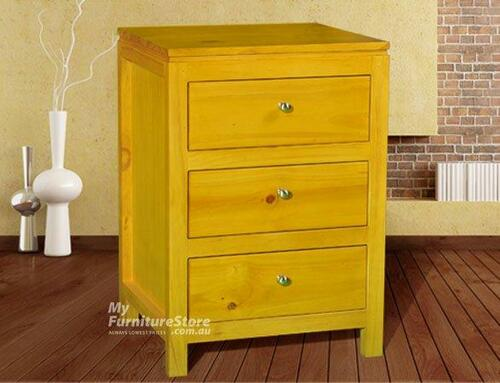 OLIVER STRAIGHT 3 DRAWER BEDSIDE - ASSORTED COLOURS