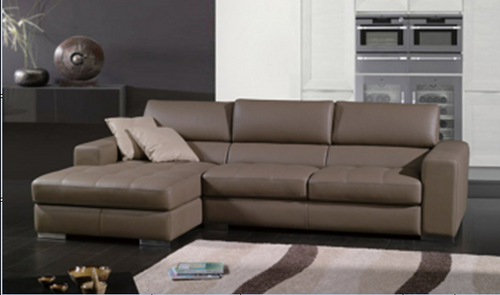 CURRY LEATHERETTE 3 SEATER + LHS/RHS CHAISE  - AS PICTURED