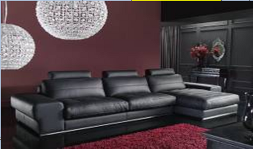 BRYANT LEATHERETTE 3 SEATER + LHS/RHS CHAISE  - BLACK