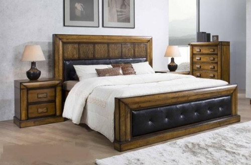 BROOKLYN KING 4 PIECE TALLBOY WITH BLACK LEATHERETTE UPHOLSTERED PANEL BEDROOM SUITE - ANTIQUE MERONI FINISH