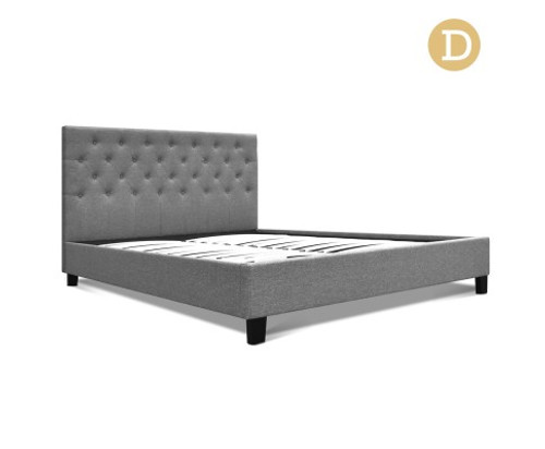 DOUBLE KELLY FABRIC BED FRAME - GREY