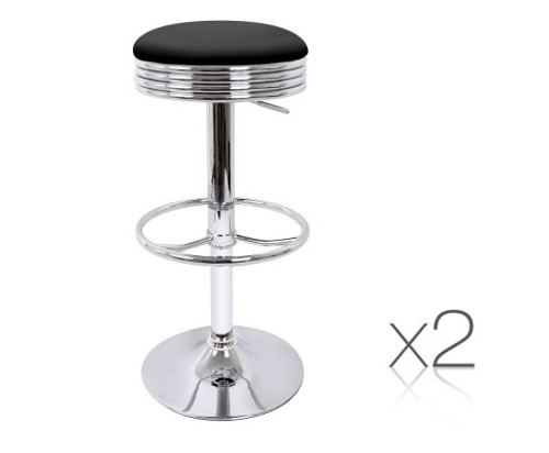 CASTRO SET OF 2 LEATHERETTE GAS LIFT KITCHEN /  BAR STOOL  - BLACK