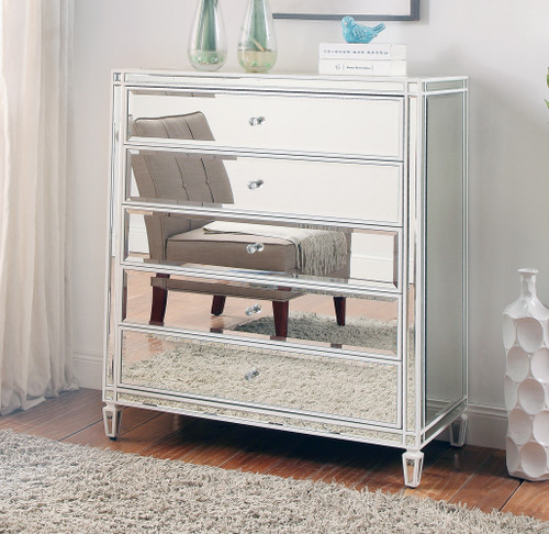 ELLAVEST (685) 5 DRAWER MIRRORED TALLBOY CHEST WITH WHITE WOOD FRAME 800(W) X 450(D) - SILVER