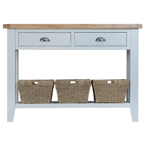 ARBETTA (TT-LCON) LARGE  CONSOLE TABLE WITH TWO DRAWER & 3 BASKETS -  850(H) X 1200(W) X 350(D)  -TWO TONE