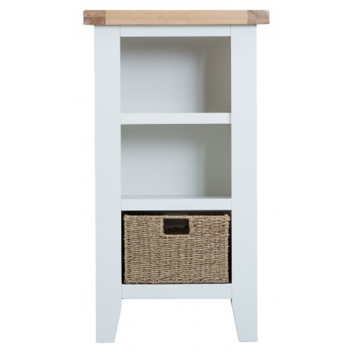 ARBETTA (TT-SNB) SMALL NARROW  BOOKCASE WITH 1 BASKET - 900(H) X 500(W)- WHITE / OAK TOP  (TWO TONE)