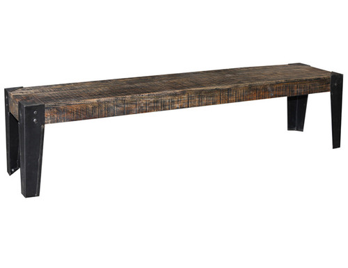 CITY LIVING 1870 DINING BENCH - BLACK DISTRESSED