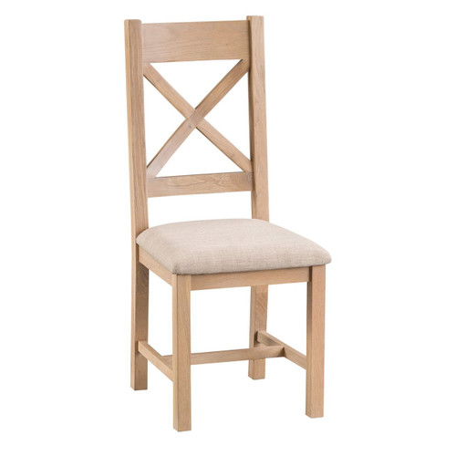DOVIA (LO-CBCPU)  CROSS  BACK CHAIR WITH UPHOLSTERED SEAT - WASHED OAK