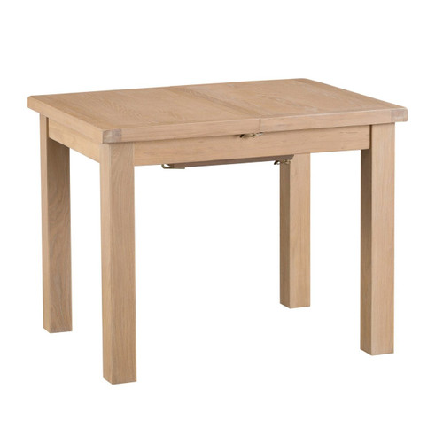 DOVIA (LO-10BET)  EXTENSION DINING TABLE WITH METAL RUNNER 1000(L)- WASHED OAK