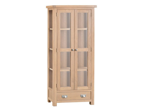 DOVIA (LO-DIS) DISPLAY CABINET WITH 2 DOOR 1 DRAWER 1800(H)- WASHED OAK