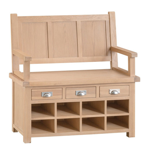 DOVIA (LO-MB) MONK BENCH WITH DRAWERS  - WASHED OAK