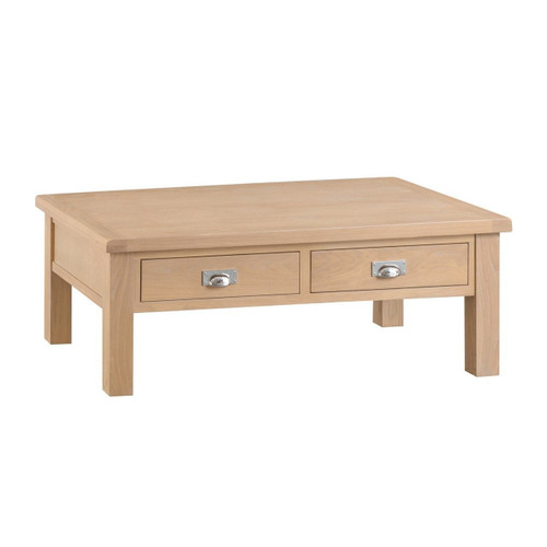 DOVIA (LO-LCT) LARGE COFFEE TABLE WITH 2 DRAWER  - 1200(W) X 700(D) -  WASHED OAK