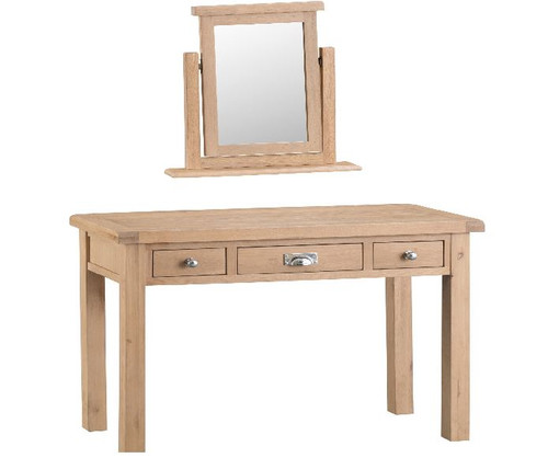 DOVIA (LO-) 3 DRAWER  DRESSING TABLE  WITH MIRROR & STOOL- 830(H) X 1100(W) - WASHED OAK
