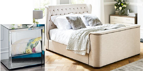 DURANGO  QUEEN  4 PIECE TALLBOY  BEDROOM SUITE WITH MATCHING CASE GOODS  - WHITE /  MIRROR