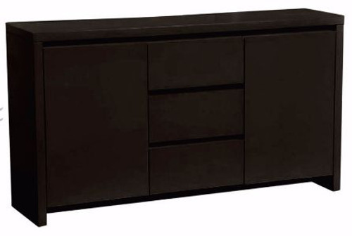 BOWRAL 2 DOOR 3 DRAWER  HIGH GLOSS SIDEBOARD -  800(H) X 1500(W)- HIGH GLOSS BLACK