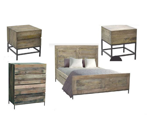 GOMEZ  KING 4  PIECE TALLBOY  BEDROOM SUITE (WPTN-002) -  DISTRESSED NATURAL
