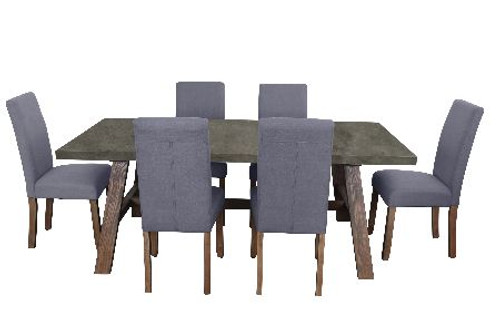 COPACABANA 7 PIECE DINING SETTING WITH  ASHTON CHAIR WITH 1600(L) x 900(W) DINING TABLE - CONCRETE TOP /  LIGHT GREY