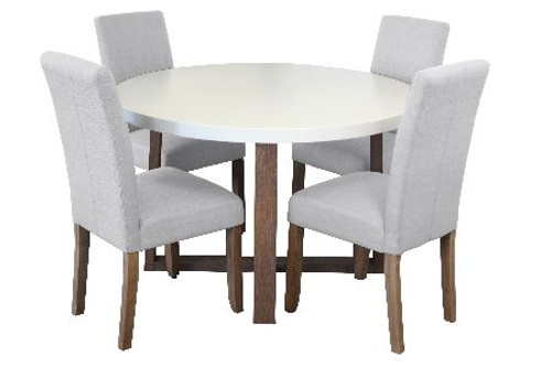 COPACABANA 5 PIECE ROUND DINING SETTING WITH ASHTON CHAIRS - 1200(L) - WHITE  /  BEIGE