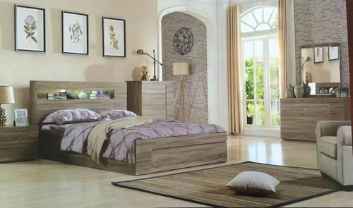 SAVANNA KING 5 PIECE DRESSER  BEDROOM SUITE WITH GASLIFT BED - MOCHA