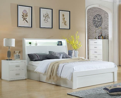 CHICAGO  KING 3  PIECE  BEDSIDE BEDROOM SUITE WITH STORAGE  DRAWERS BED  (LS-120 K) - HIGH GLOSS WHITE