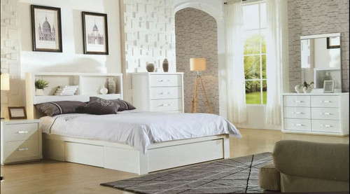 BENZIMA  DOUBLE  OR QUEEN 5 PIECE DRESSER  BEDROOM SUITE - (MODEL-LS-113) - HIGH GLOSS WHITE