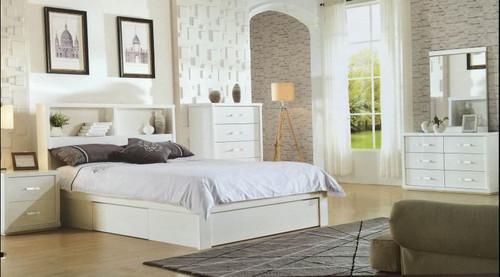 BENZIMA KING 5 PIECE DRESSER  BEDROOM SUITE - (MODEL-LS-113K) - HIGH GLOSS WHITE