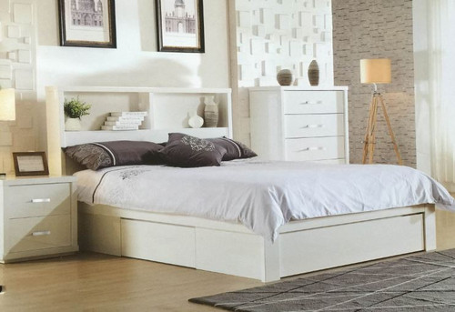 BENZIMA  KING 3 PIECE BEDSIDE BEDROOM SUITE - (MODEL-LS-113K) - HIGH GLOSS WHITE