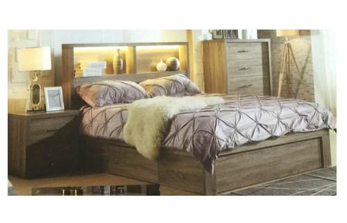 BENZIMA  KING 3 PIECE BEDSIDE BEDROOM SUITE - (MODEL-LS-113M) - MOCHA