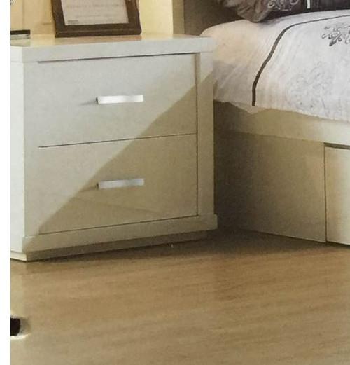BENZIMA 2  DRAWER BEDSIDE TABLE  (MODEL:LS 113 BS) - HIGH GLOSS WHITE