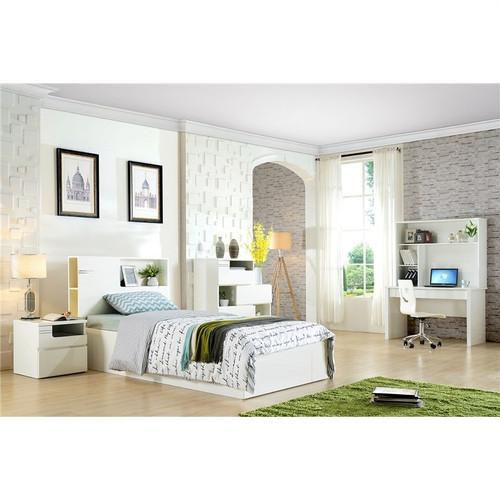 GABBY SINGLE OR  KING SINGLE  4  PIECE BEDROOM SUITE WITH STUDY DESK  (MODEL:LS 112) - HIGH GLOSS WHITE OR MOCHA