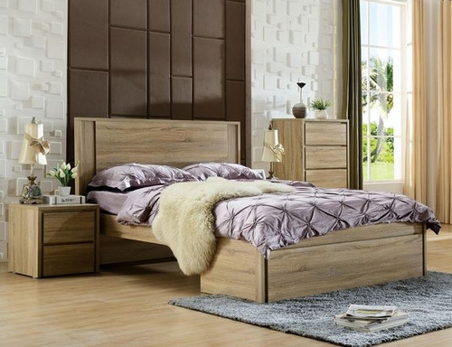DOUBLE SERRANO BED WITH BED END STORAGE DRAWER  (LS-128 D) - MOCHA