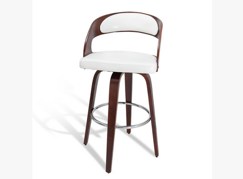 FERRARA BENTWOOD LEATHERETTE BAR STOOL - SHINY WHITE