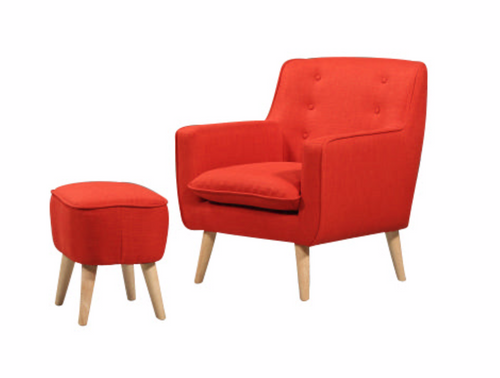 GEORGIA FABRIC UPHOLSTERED CHAIR WITH FOOT STOOL - SUNKIST