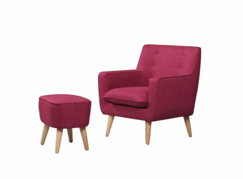 GEORGIA FABRIC UPHOLSTERED CHAIR WITH FOOT STOOL - MAGENTA