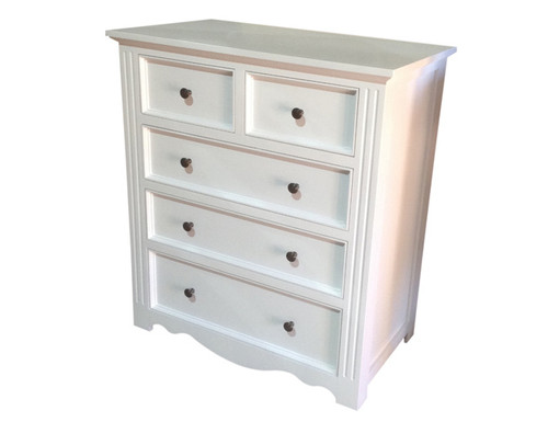 ANZAC 900W 5 DRAWER TALLBOY - WHITE
