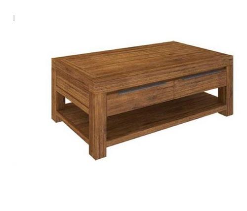 ALPINE  COFFEE TABLE WITH 2 DRAWERS & SHELF- 1300(W) X 700(D)  - GOLDEN WALNUT