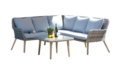 CURSO  CONER SOFA SETTING  WITH 750(L) X 750(W) TABLE - GREY