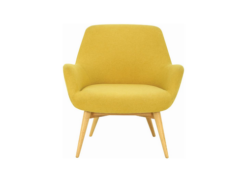BERLINGO SINGLE SEATER FABRIC LOUNGE CHAIR - SEAT: 460(H) - YELLOW