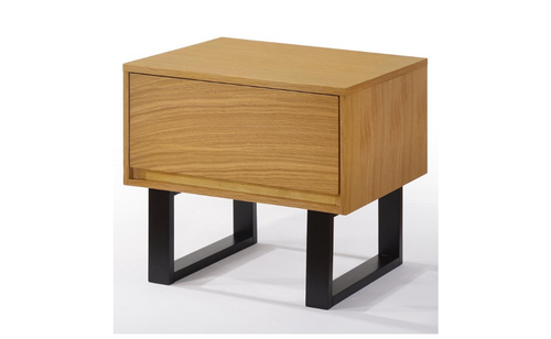 KAREL BEDSIDE TABLE WITH DRAWER - OAK + BLACK
