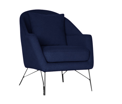 SIMBA ACCENT FABRIC CHAIR WITH METAL LEG -  NAVY