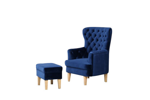 ELISA FABRIC UPHOLSTERED CHAIR WITH FOOT STOOL -  NAVY