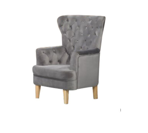 ELISA FABRIC ACCENT UPHOLSTERED BUTTONED SOFA CHAIR  -  GREY