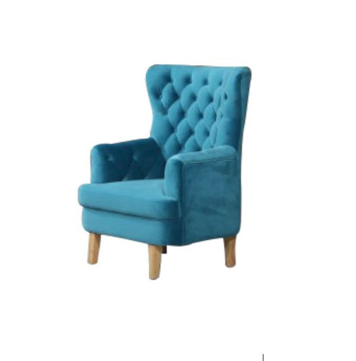 ELISA FABRIC UPHOLSTERED BUTTONED SOFA CHAIR  -  TURQUOISE