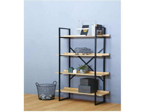 EGOR   DISPLAY WALL UNIT - 1750(H) X 900(W) - NATURAL OAK +  BLACK METAL