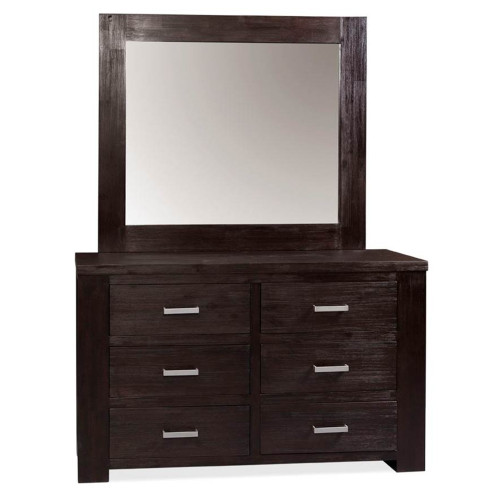 RUSTIC 6 DRAWER DRESSING TABLE WITH MIRROR - DARK CHOCOLATE