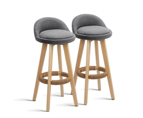 DALVEY  SET OF 2  FABRIC  BAR STOOL (BENT-C-9004H-GYX2) - GREY