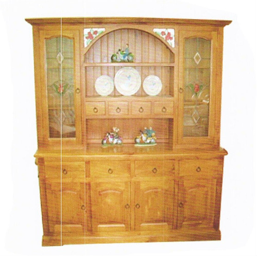 (WBH-6/8) BUFFET AND HUTCH WITH 4 DOORS AND ROSE LEADLIGHT DETAIL -1850(W)
